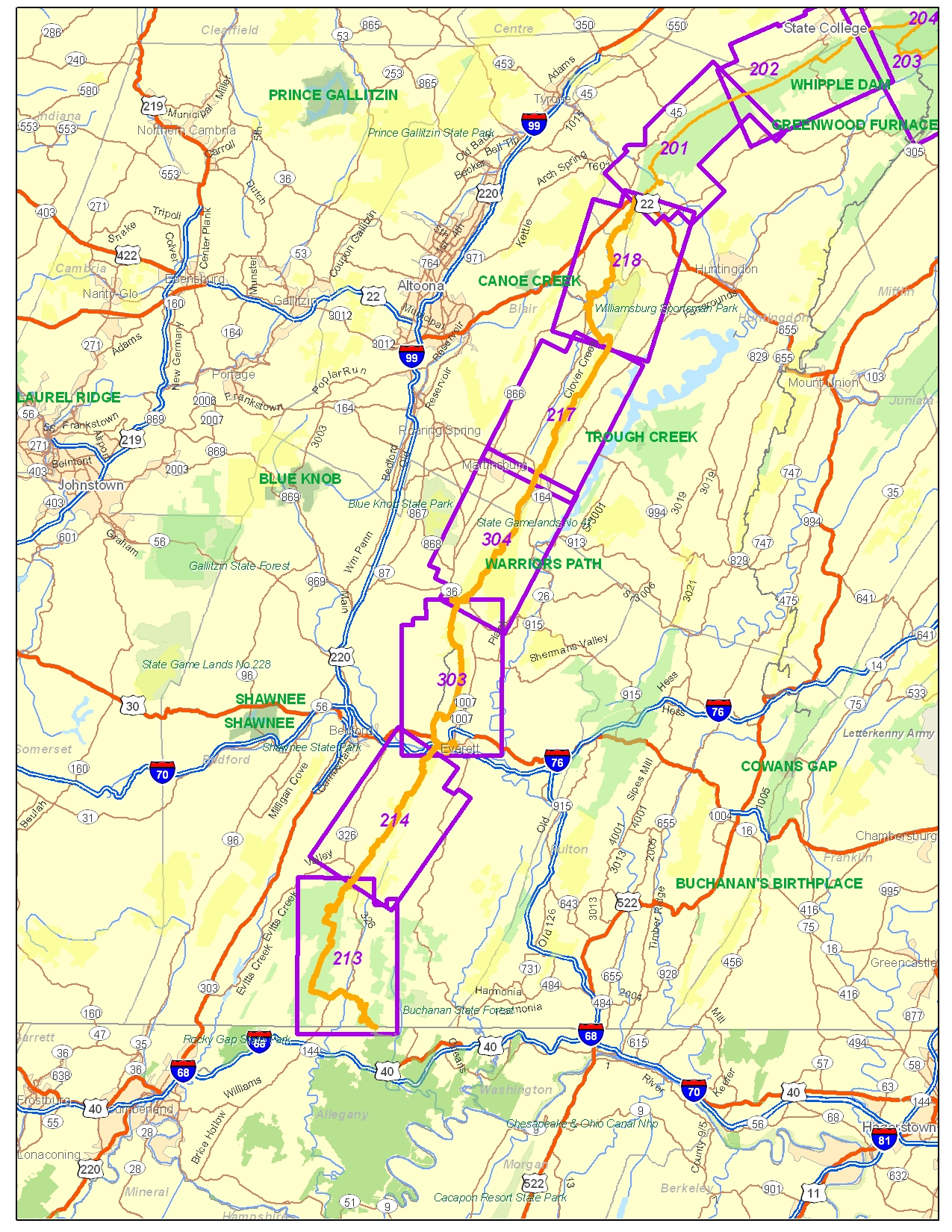 Everett Region Maps Great Eastern Trail Mid State Trail - Penn map state maps