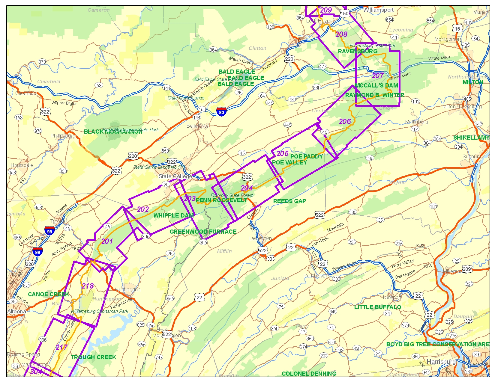 State College Region Maps Great Eastern Trail Mid State Trail - Penn map state maps